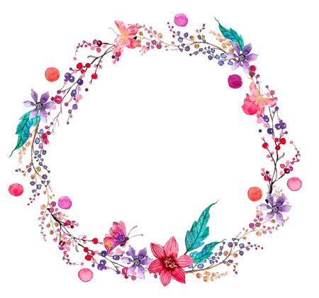 flower art: Acquerello corona di fiori sfondo per un bel design