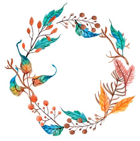 아름다운 디자인, 수채화 꽃 화환 배경 일러스트