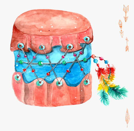 native culture: Indian drum. Watercolor illustration Stock Photo