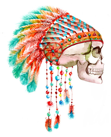 american native: Indian tribal  hat and skull. Watercolor bright illustration