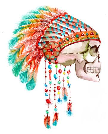 indios americanos: Sombrero tribal indio y el cráneo. Acuarela ilustración brillante Foto de archivo