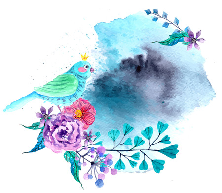 beauty of nature: Watercolor flowers and bird background, bright and beautiful illustration Stock Photo