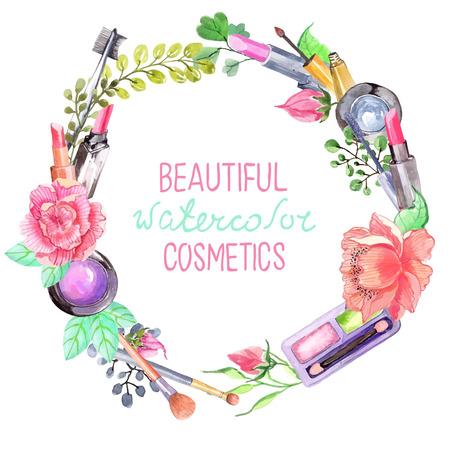아름다움: 수채화 화장품 세트, 흰색 위에 꽃과 아름다운 화환