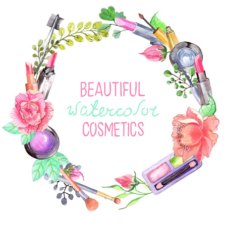 Watercolor cosmetics set, beautiful wreath with flowers over white