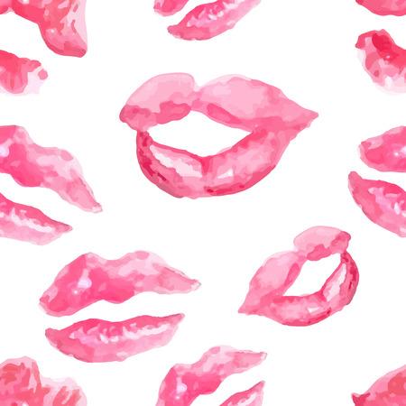 beso labios: Patrón sin fisuras con un beso del lápiz labial impresiones en el fondo blanco, labios acuarela