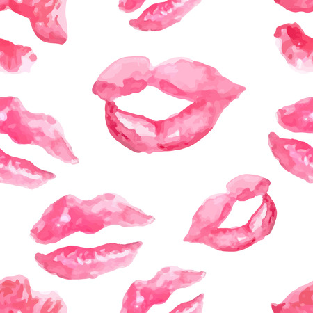 Seamless pattern with a lipstick kiss prints on white background, watercolor lips