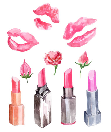 the lipstick: Lipstick, lipstick kiss prints and flowers collection over white