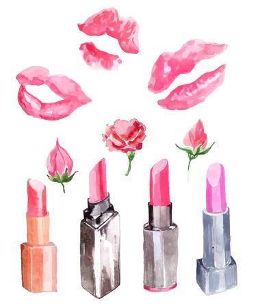 lapiz labial: Pintalabios, impresiones beso l�piz labial y flores colecci�n sobre blanco
