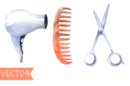 scissors and comb: Watercolor hair dryers, scissors and comb set over white