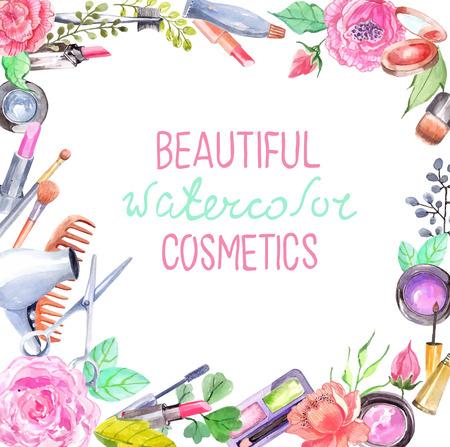 cosmeticos: Cosméticos acuarela fijadas, hermoso marco con flores en blanco