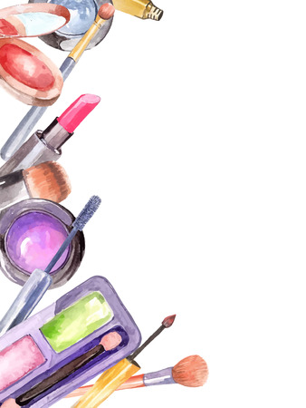 make up eyes: Watercolor cosmetics set, beautiful frame over white