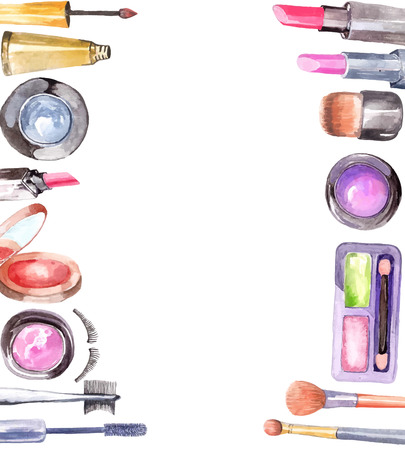 lipstick tube: Watercolor cosmetics set, beautiful frame over white