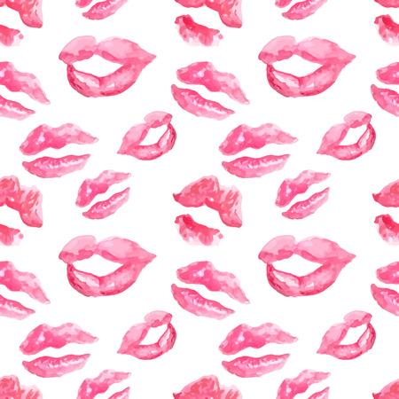beso: Patrón sin fisuras con un beso del lápiz labial impresiones en el fondo blanco, labios acuarela