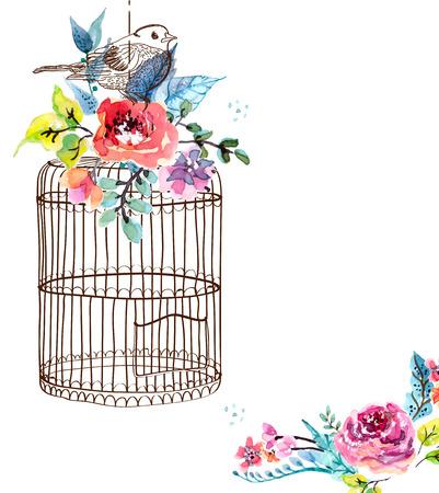 pajaros: Flores de la acuarela y jaula de p�jaros para el dise�o Feliz cumplea�os o el dise�o de la invitaci�n de boda, ahorre la fecha ilustraci�n o el dise�o de d�a de San Valent�n Foto de archivo