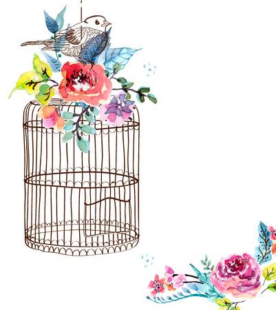 Watercolor flowers and bird cage for Happy Birthday design or wedding invitation design, save the date illustration or Valentines day design