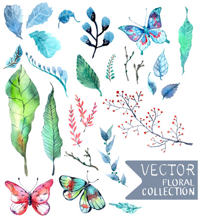 Watercolor flowers collection for different design with natural floral elements and butterfly
