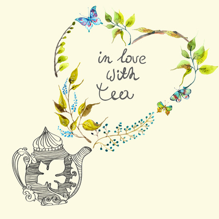 leaf illustration: Watercolor colorful background with flowers and teapot, beautiful vintage illustration Stock Photo