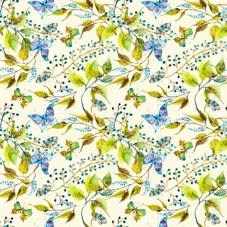 schmetterlinge blau wasserfarbe: Seamless Aquarell Hintergrund mit Schmetterling und Blatt Lizenzfreie Bilder
