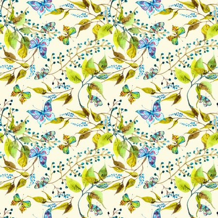 Seamless watercolor background with butterfly and leaf
