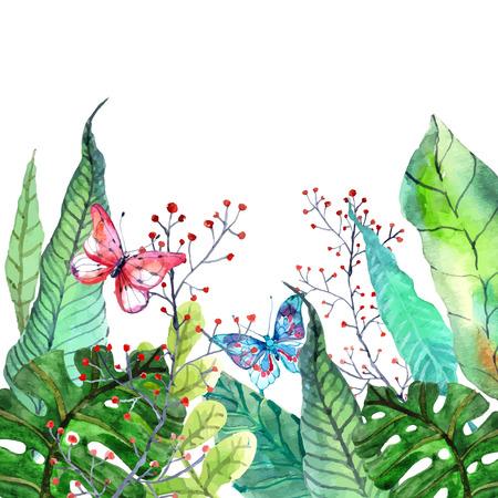 orchidee: Acquerello sfondo floreale con orchidee tropicali fiori, foglie e farfalle per bel disegno naturale
