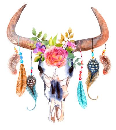 위에 흰색 꽃과 깃털을 가진 수채화 황소 두개골