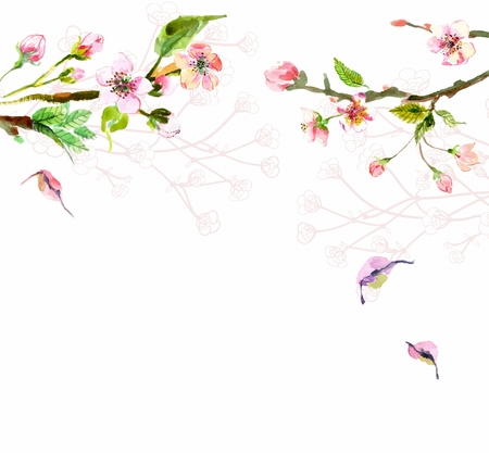 Watercolor apple flowers, beautiful background for design Stock Photo