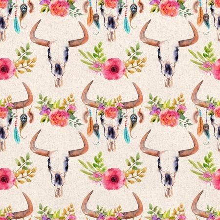 toros bravos: Acuarela cráneo del toro con flores y plumas, de fondo sin fisuras, patrón