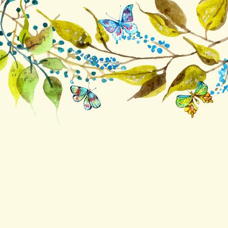schmetterlinge blau wasserfarbe: Aquarell Schmetterling und Zweig Hintergrund für schönes Design