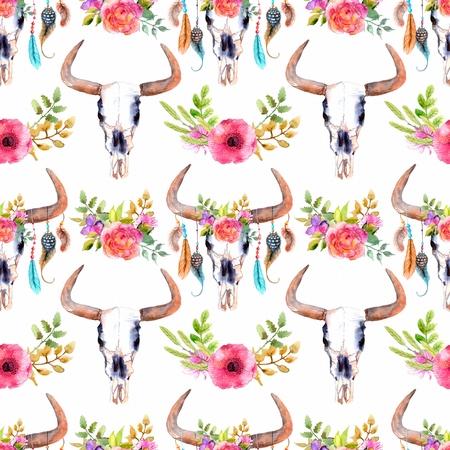 Aquarel stier schedel met bloemen en veren, naadloze achtergrond, patroon