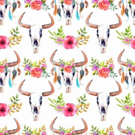 Watercolor bull skull with flowers and feathers, seamless background, pattern