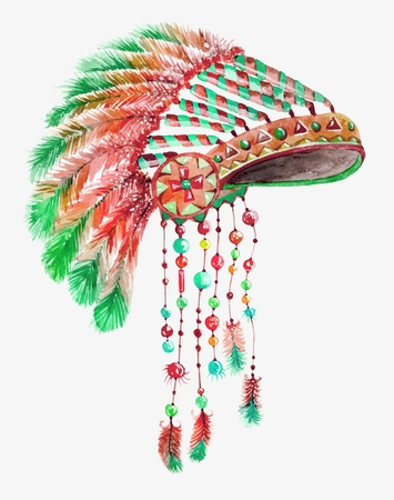 indian headdress: Tribal indian hat, watercolor background for beautiful design Stock Photo