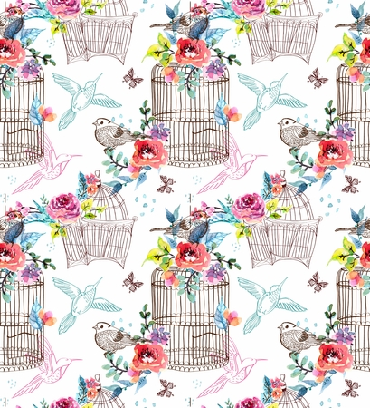 cage: Watercolor flowers and bird cage, seamless pattern