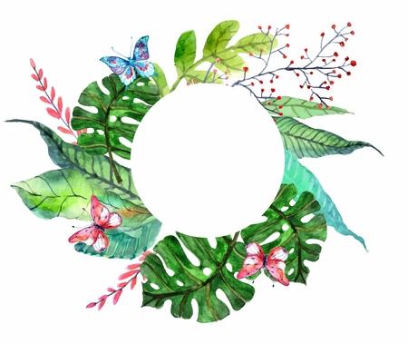 Aquarelle fond floral avec des orchidées tropicales fleurs, des feuilles et des papillons pour la belle conception naturelle Banque d'images - 40190916
