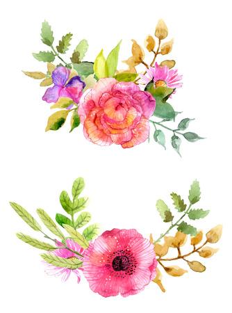 수채화 꽃 설정합니다. 잎과 꽃과 화려한 꽃 모음입니다. 초대, 결혼식 또는 인사말 카드 봄 또는 여름 디자인