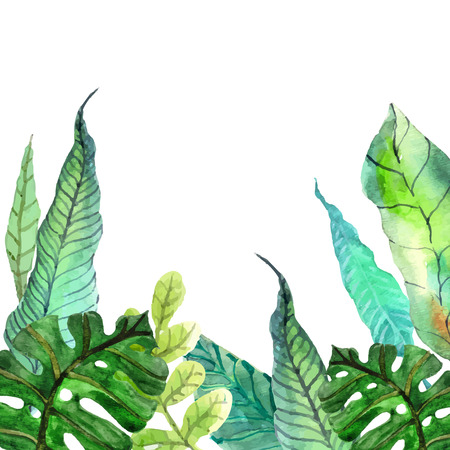 Watercolor Floral background with Tropical leaves for beautiful design