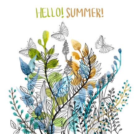 Watercolor floral frame, beautiful natural illustration Reklamní fotografie - 40190931