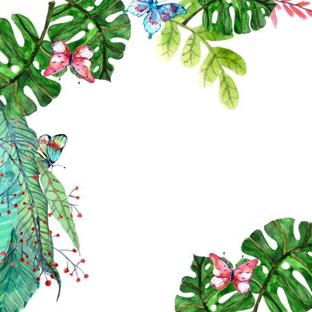 flores exoticas: Fondo de la acuarela floral con orquídeas tropicales flores, hojas y mariposas para el diseño natural de gran belleza