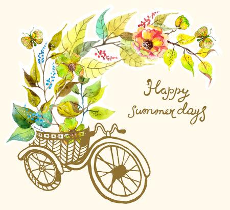 driewieler: Fiets en waterverf bloemen, driewieler, retro-kaart Stock Illustratie