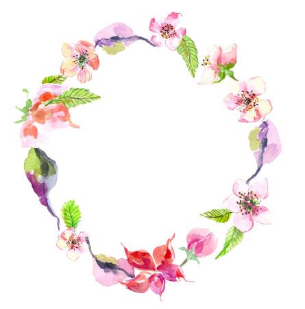 수채화 사과 꽃 화환, 디자인 아름다운 배경