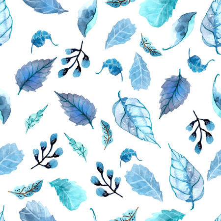 Watercolor leaves seamless floral background, leaf pattern Vektorové ilustrace