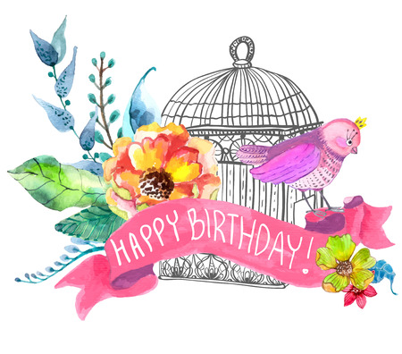 Watercolor flowers and bird cage for Happy Birthday design or wedding invitation design, save the date illustration or Valentines day design.  イラスト・ベクター素材
