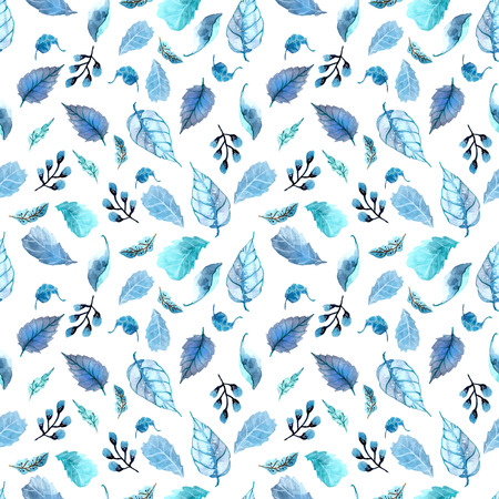 Watercolor leaves seamless floral background,  leaf pattern