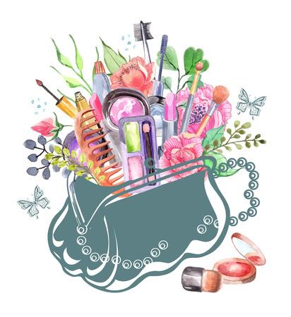 수채화 화장품 여성 가방 꽃으로 설정