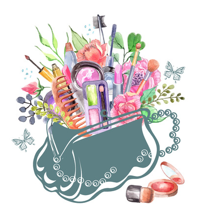 make up eyes: Watercolor cosmetics set with woman bag and flowers