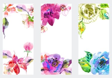 Banderas con las flores de la acuarela