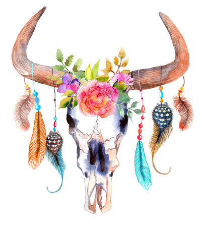 Watercolor bull skull with flowers and feathers over white Ilustração