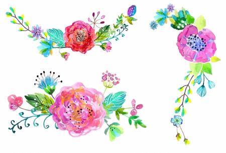 Aquarel bloemen set. Kleurrijke bloemen collectie met bladeren en bloemen. Lente of zomer ontwerp voor de uitnodiging, huwelijk of wenskaarten