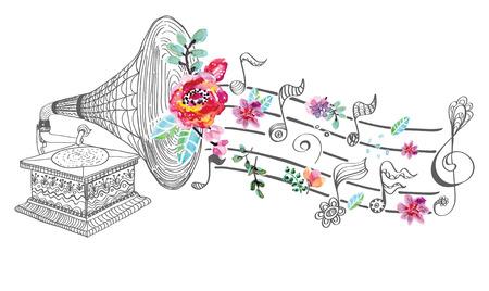 Vintage Gramophone, Plattenspieler Hintergrund mit Blumenverzierung, schöne Illustration mit Aquarell Blumen Standard-Bild - 42500997