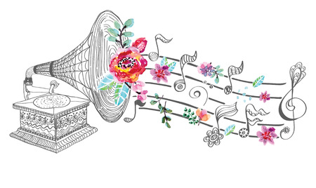music event: Vintage Gramophone, Record player background with floral ornament, beautiful  illustration with watercolor flowers