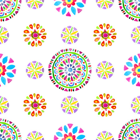 oriental pattern: Watercolor Retro pattern of geometric shapes. Colorful texture with circles Illustration